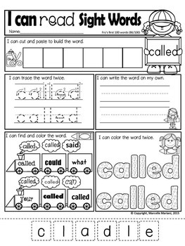 Sight Words Practice Sheets- BUNDLE PACK- First 100 Fry Sight Words