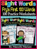 Sight Words Practice Sheets- BUNDLE PACK- First 100 Fry Si