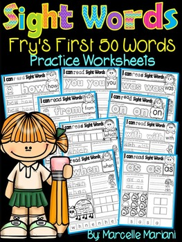 Sight Words Practice Sheets- Fry's 1st 50 words (50 Sight