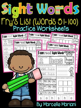 Sight Words Practice Sheets- Fry's List (words 51-100) -49