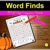 Sight Words Practice  Word Find October Halloween Themed