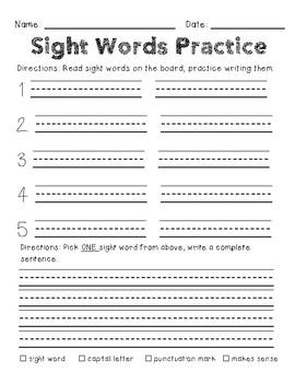Sight Words Practice  Word Work