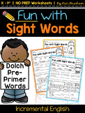 Sight Word Practice Pages {Dolch Pre-Primer}