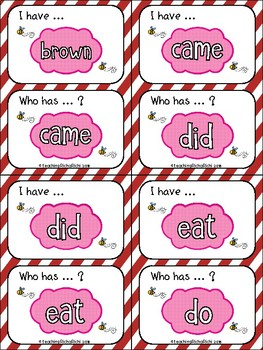 Sight Words Kindergarten I Have Who Has Game