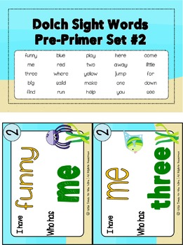 Sight Words Pre-Primer Dolch Word List - I Have...Who Has? Game