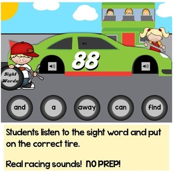 Sight Words Practice Pre-Primer (Pre-K) Digital Boom Cards Racing Theme