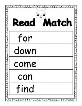 Sight Words Pre-Primer (Read/Match/Write)