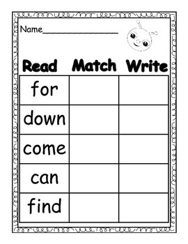 Sight Words Pre-Primer (Read/Match/Write)
