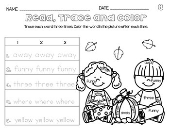 NO PREP Sight Words {Pre-Primer} Read, Trace & Color