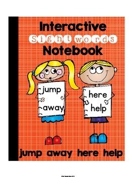 Pre-Primer Set 8 Sight Words Interactive Notebook (jump, away, here, help)