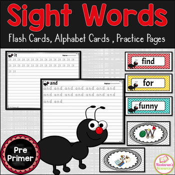 Sight Word Wall Cards  Pre-Primer {Alphabet Cards, Practice Pages}