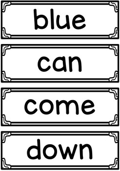 Sight Words ~ Pre Primer Word Wall Cards and Assessment