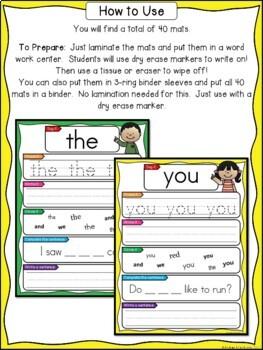 Sight Words - Pre-Primer Words Write & Wipe Mats