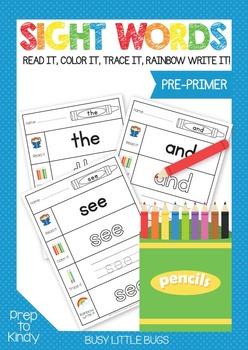 Sight Words - Pre-Primer Work Sheets