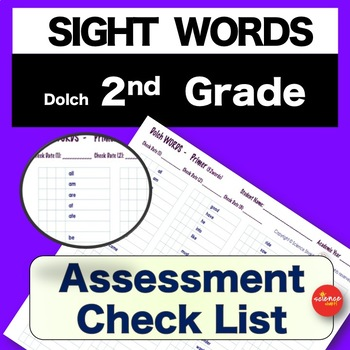 Sight Words - Pre and Post Assessment - 2nd GRADE - Pre K-3 - Dolch