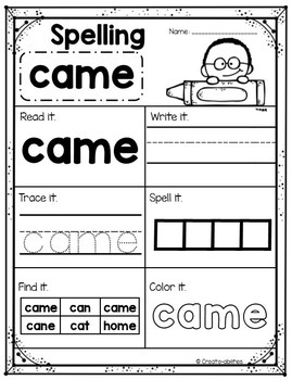 Sight Words Practice Primer