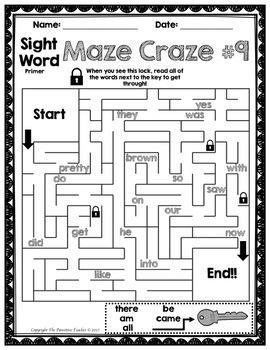Sight Words Maze Primer