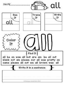 Sight Words- Dolch Primer Kindergarten