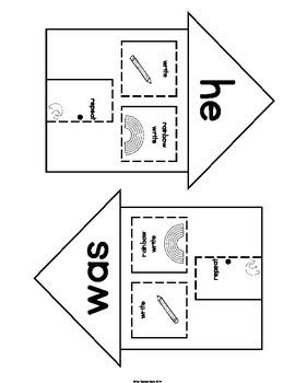 Interactive Notebook Sight Words (he, was, that, she) Primer Set 1