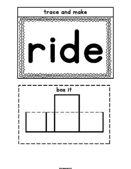 Sight Words Primer Set 8 (came,ride,into,good) Interactive Notebook