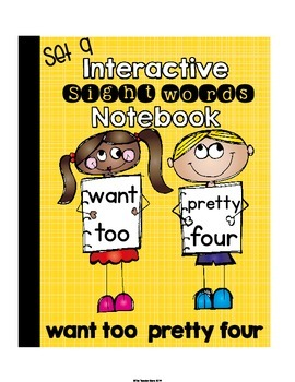 Sight Words Primer {Set 9} Interactive Notebook (want,took,pretty,four)