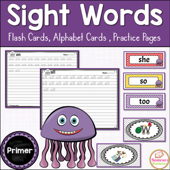 Sight Words Primer {Word Wall Cards , Alphabet Cards, Prac