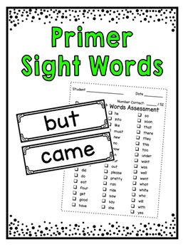 Sight Words ~ Primer Word Wall Cards and Assessment