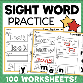 Sight Words Worksheets 100 No-Prep Activities