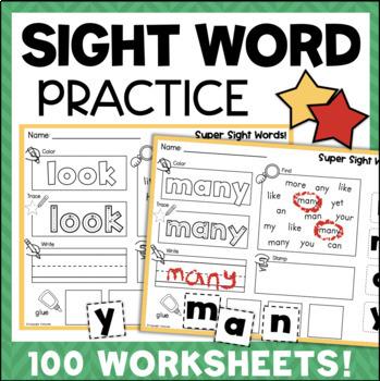 Sight Words Worksheets 100 No-Prep Activities Kindergarten First Grade