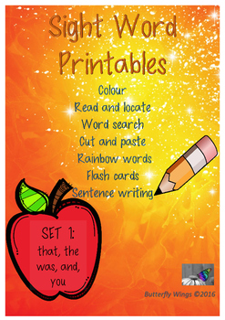 Sight Words Printables Set 1: that, the, was, and, you