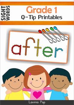 Sight Words - Q-Tip Printables (Grade 1 Words)