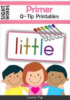 Sight Words Q-Tip Printables (Primer Words)