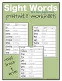 Sight Words: Question and Color Word Worksheets