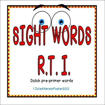 Sight Words RTI Pre-Primer