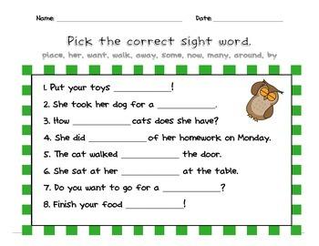 Sight Words Practice Rainbow Green List 2