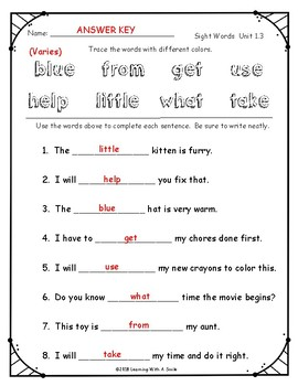 Sight Words - Rainbow Trace and Fill-Ins FIRST GRADE