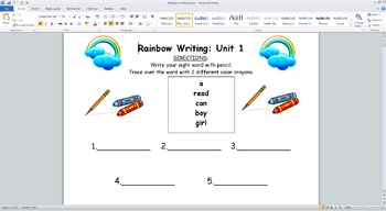 Sight Words Rainbow Writing