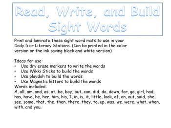 Sight Words Read It-Write It-Build It!