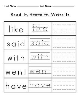 Sight Words: Read, Trace, Write