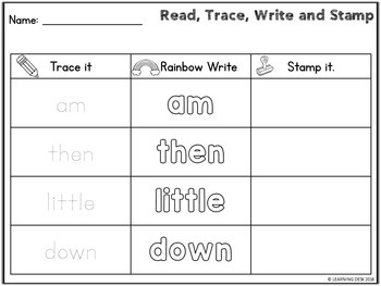 First Grade Sight Words Activity Worksheets (Read, Write and Stamp)