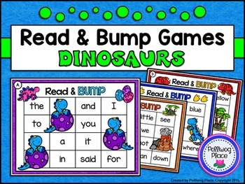 Sight Words: Read and Bump Games - Dinosaurs {Pre-Primer and Primer}