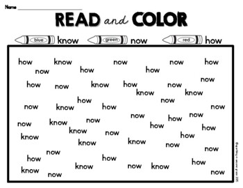 Sight Words Read and Color FREEBIE