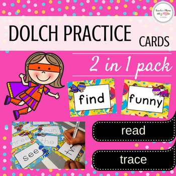 Dolch Sight Words Read and Trace Cards : Superhero Theme