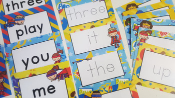 Word Wall Cards with Sight Words - Read and Trace  (Superhero)