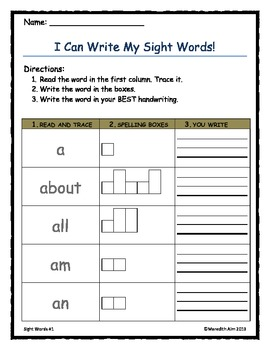 Sight Words Read and Write