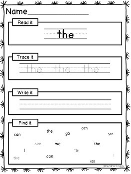 Sight Words: Read it, Trace it, Write it, Find it