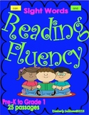 Sight Words Fluency Reading Comprehension passages and questions K- 1