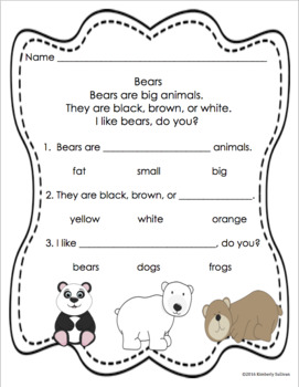 Reading Comprehension passages and questions K- 1