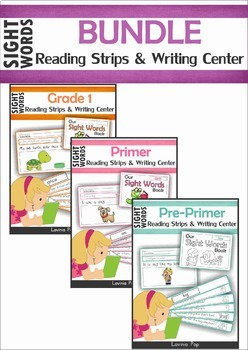 Sight Words Fluency Reading Strips and Writing Center BUNDLE