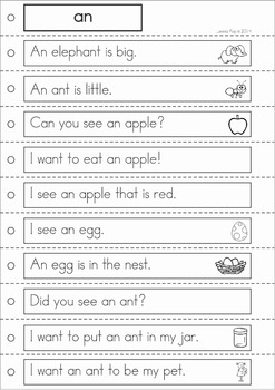 Sight Words Fluency Reading Strips and Writing Center (Grade 1 Words)